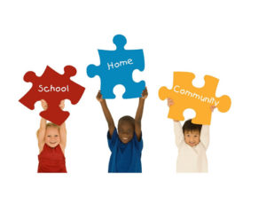 children holding puzzle signs home school community